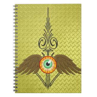Flying Eyeball Pinstripe Spiral Notebook