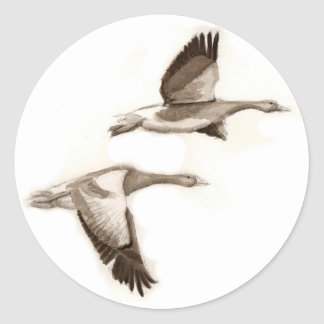 Flying geese drawing classic round sticker