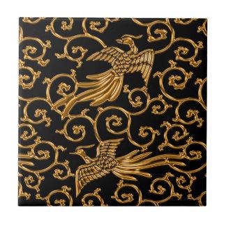 Flying golden birds arabesque tile