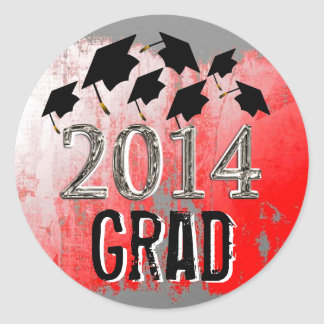 Flying Graduation Hats 2014 Grunge Stickers