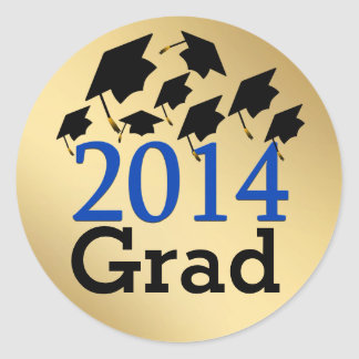 Flying Graduation Hats Gold 2014 Grad Stickers
