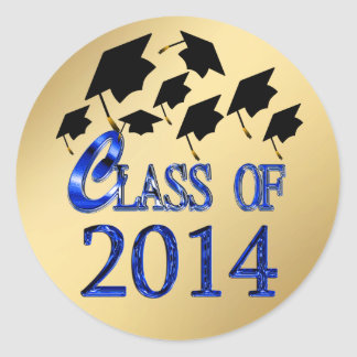 Flying Graduation Hats Gold Class Of 2014 Stickers