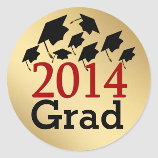 Flying Graduation Hats Gold Red 2014 Grad Stickers