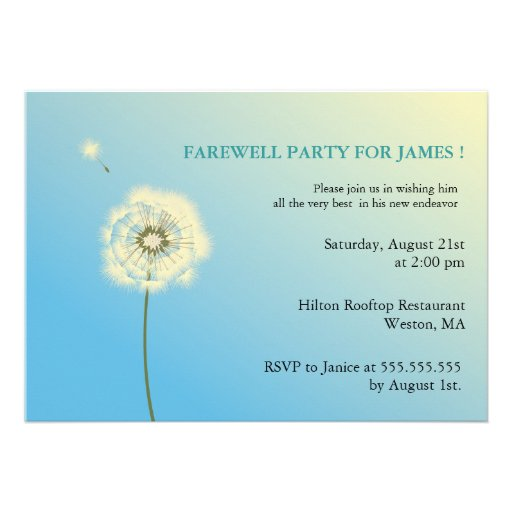 """Flying High - farewell party invitations 5"""" X 7 ..."""