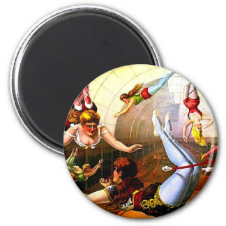 Flying Ladies Vintage Circus Trapeze Act Victorian 6 Cm Round Magnet