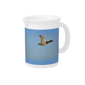 Flying Mallard Duck Art for Wildlife lovers Pitcher