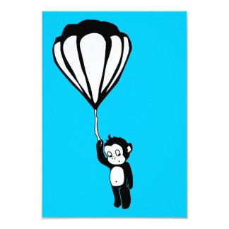 flying monkey : hot air balloon 9 cm x 13 cm invitation card