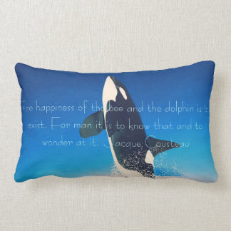 Flying Orca Whale Jacques Cousteau Quote Pillow