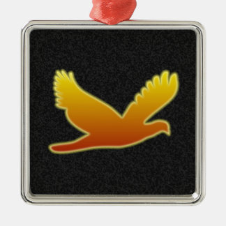Flying Phoenix Silver-Colored Square Decoration