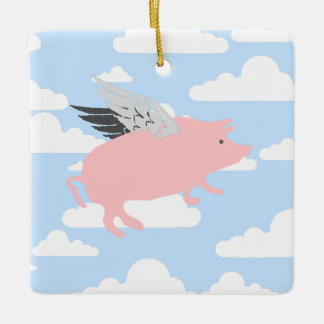 Flying Pig Ceramic Ornament
