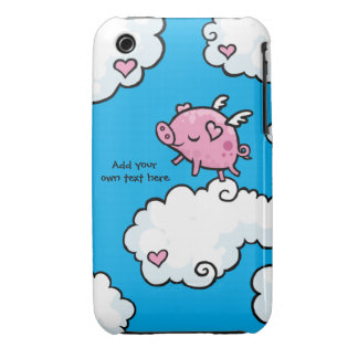 Flying Pig Dances on Clouds Customisable iPhone 3 Case