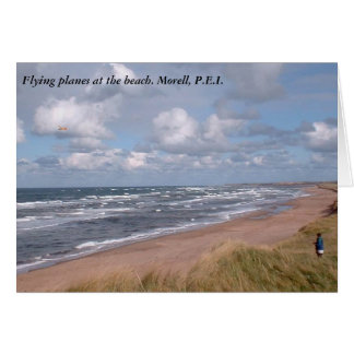 Flying planes at the beach. Morell. P.E.I. Card