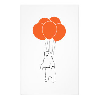 Flying Polar Bear with Balloons Stationery