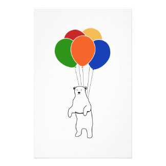 Flying Polar Bear with Birthday Balloons Stationery