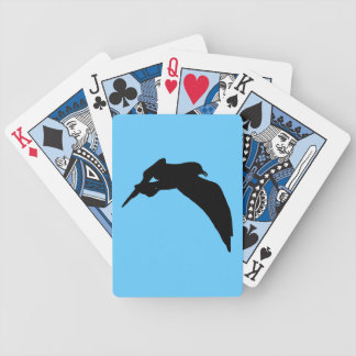Flying Sea Gull Black Silhouette Playing Cards