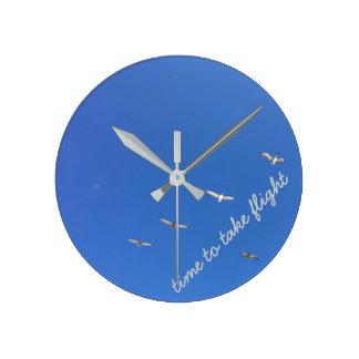 Flying Seagulls Blue Beach Sky Round Wall Clock