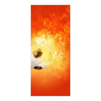 Flying soccer with flames 4x9.25 paper invitation card