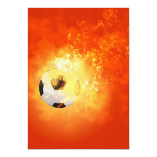 """Flying soccer with flames 5"""" x 7"""" invitation card"""