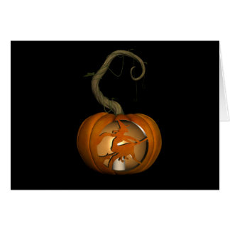 Flying Witch Carved Pumpkin Halloween Card