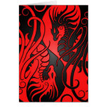 Flying Yin Yang Dragons - red and black Greeting Card