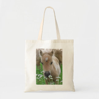 Foal Smelling Daisies Tote Bag