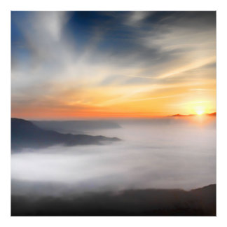Fog over the mountains of japan during sunrise photographic print