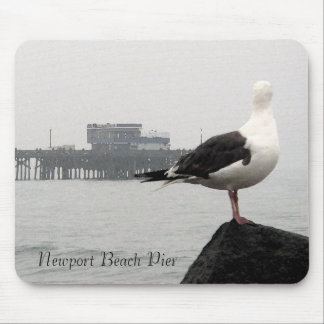 Foggy Newport Pier & Seagull Watercolor Mousepad