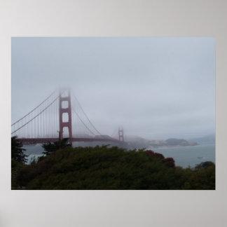 Foggy San Francisco view of Golden Gate Bridge Poster