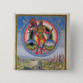 Fol.7v The Planet Mars, from 'De Sphaera', 1470 15 Cm Square Badge