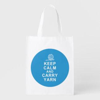 Foldable reusable grocery tote bag yarn tote bag