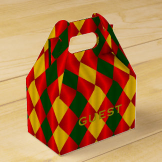 Folded Harlequin-Red-Green-Gold-FAVOR BOX,Gable Wedding Favour Box