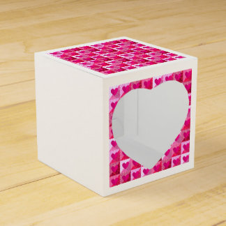Folded Pink Hearts Pattern Heart Favor Box Favour Box