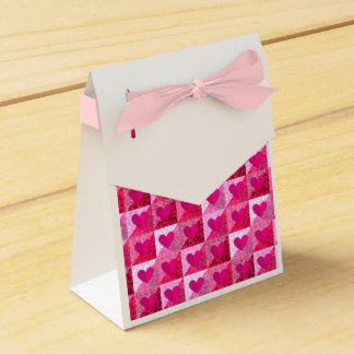 Folded Pink Hearts Pattern Tent Favor Box Party Favour Box