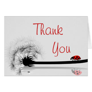 Folded Thank You Card Lady Bug on Dandelion Red Si