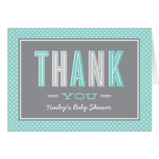 Folded Thank You Notes | Chic Type Aqua and Gray