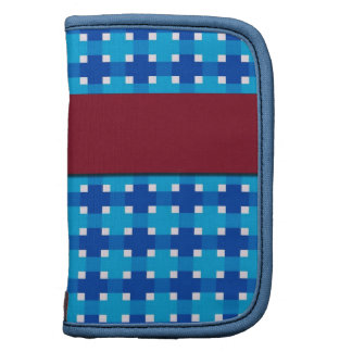 Folio Mini Planner in Blue Plaid and Deep Red Band
