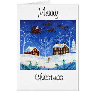 Folk Art Christmas Card with Santa