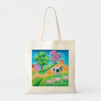 Folk art colorful cow and sheep painting tote bag