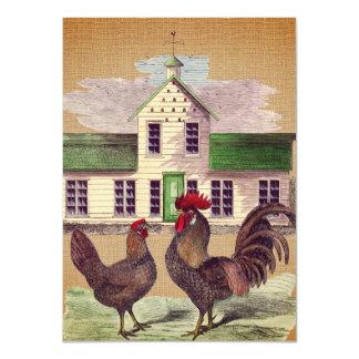 Folk Art Farmyard Chickens Rustic Design Card