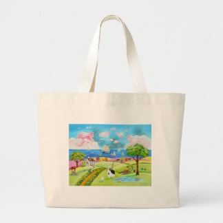 Folk art landscape painting by Gordon Bruce Large Tote Bag