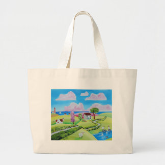 Folk art landscape painting Gordon Bruce Large Tote Bag