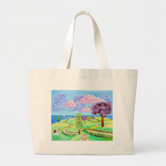 folk art landscape with sheep Gordon Bruce art Large Tote Bag