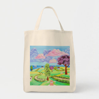 folk art landscape with sheep Gordon Bruce art Tote Bag