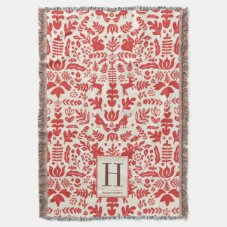 Folk Art Monogram Holiday Blanket