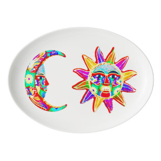 Folk Art Moon and Sun Platter
