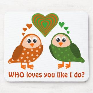 Folk Art Owls Couple WHO Loves You Mouse Pad