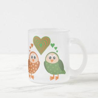 Folk Art Owls Couple WHO Loves You Frosted Glass Mug