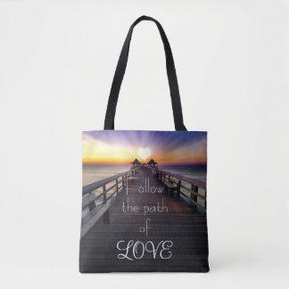 Follow the Path of Love Beach Pier Tote Bag