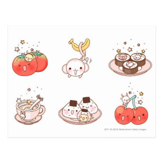 Food items displayed against white background postcard