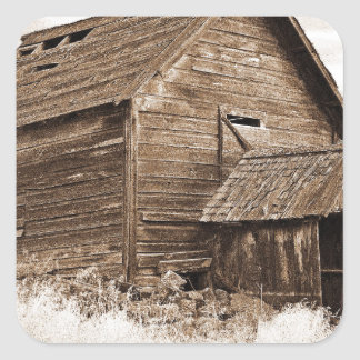 Food Storage Building ( Sepia ) Square Sticker